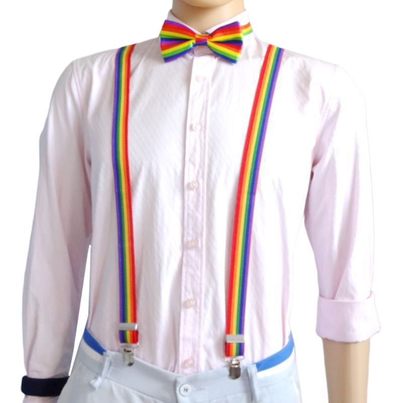 Men Women 3 Piece Rainbow Striped Costume Set Y-Back Suspenders Bow Tie Necktie