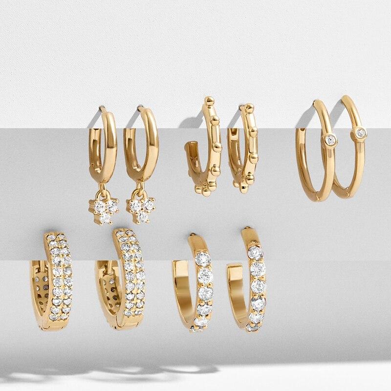 Nuevos pendientes de Color de zirconia cúbica dorada para mujer, 5 pares geométricos pequeños, conjunto de pendientes de aro, joyería Huggie, bisutería de boda, pendientes