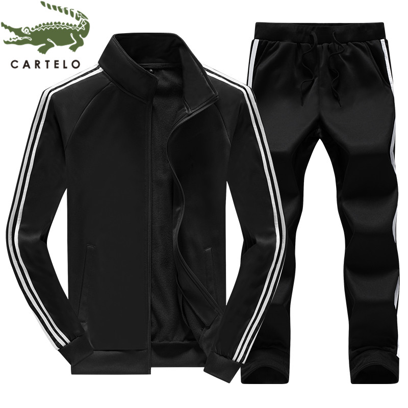 CARTELO New Sports Suit Men's Fashion Trend Stand Collar Casual Sportswear Men's Sweater Suit