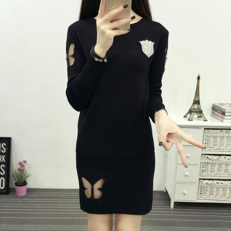 2019 Autumn And Winter New Style WOMEN'S Dress Debutante Elegant Knitted Dress Two-Piece Set Sweater Butterfly Dress Outfit Supe