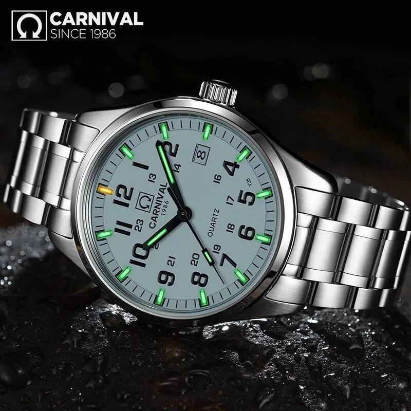 Carnival T25 Tritium Luminous Watch Men Military Mens Watches Top Brand Luxury Quartz Wristwatch Male Clock Reloj Hombre 2019