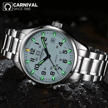 Carnival T25 Tritium Luminous Watch Men Military Mens Watches Top Brand Luxury Quartz Wristwatch Male Clock Reloj Hombre 2019 carnival automatic submariner watch men sport diving mens mechanical watches top brand luxury military wristwatch male clock