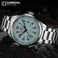 Carnival T25 Reloj luminoso de Tricio para hombres relojes militares para hombres Reloj de pulsera de cuarzo de lujo de marca superior Reloj de pulsera para Hombre Reloj para Hombre 2019