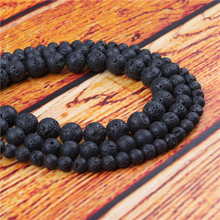 Volcanic Stone Natural Stone Bead Round Loose Spaced Beads 15 Inch Strand 4/6/8/10/12mm For Jewelry Making DIY Bracelet
