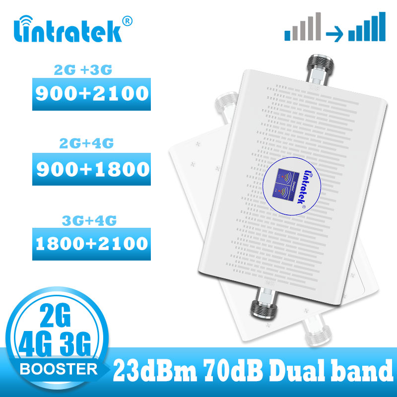 Lintratek 2g 3g Cellular Signal Booster Gsm Wcdma Signal Booster LTE Dual Band 2g 4g Internet Network Amplifier 3G 4G Repeater