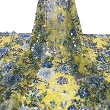 Новая мода африканская кружевная ткань с цветочным узором блестки Высокое качество Тюль французская кружевная ткань вечер в Нигерии платье