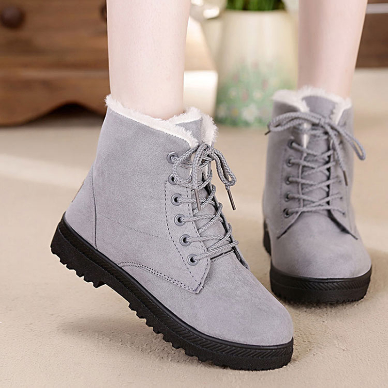 Women Snow Boots Winter Warm Plush Insole Square Heel Ankle Boots Lace-Up Casual Flock Women Shoes Plus Size 44 29