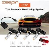 USB Android TPMS Car Tire Pressure Monitoring System Display 4 Internal Sensors Android Navigation Tyre Pressure Alarm 0 116Psi