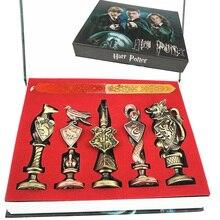Harri Potter sello Vintage alfabeto cera 3D placa de Metal sello establece Hermione magia varita de arma llavero, collar caja de juguete