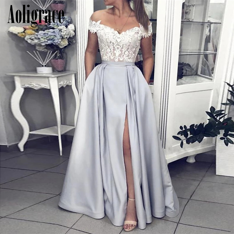 Aoligrac Off Shoulder Lace High Side Split Prom Dresses Sweep Train Formal Party Evening Gowns  Special Occasion Dresses Vestido
