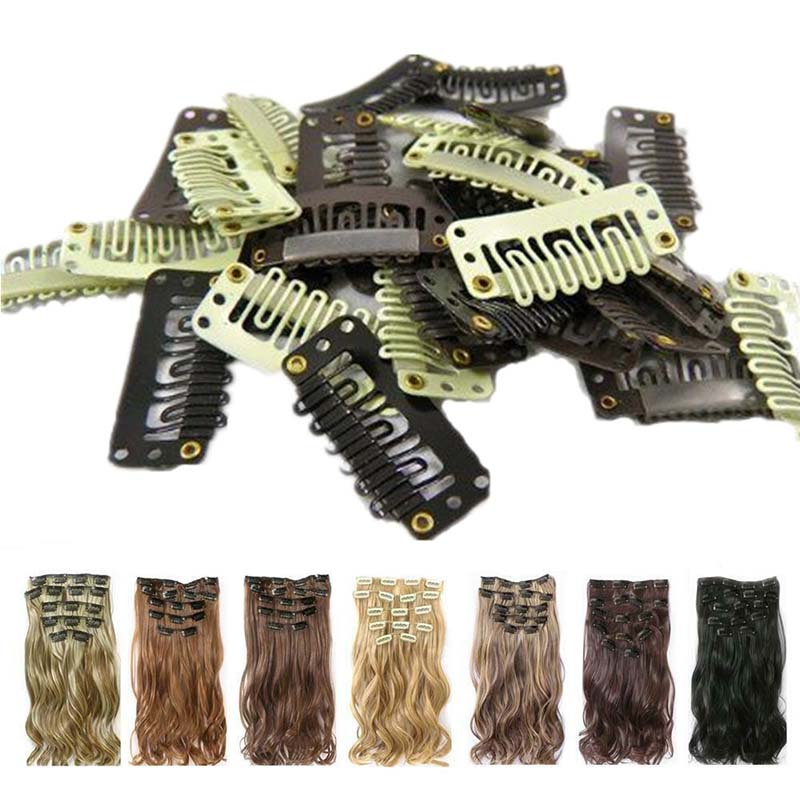 10Pcs 32mm 6-teeth Hair Extension Snap Metal With Silicone Back For Clip Human Extensions Wig Comb Clips
