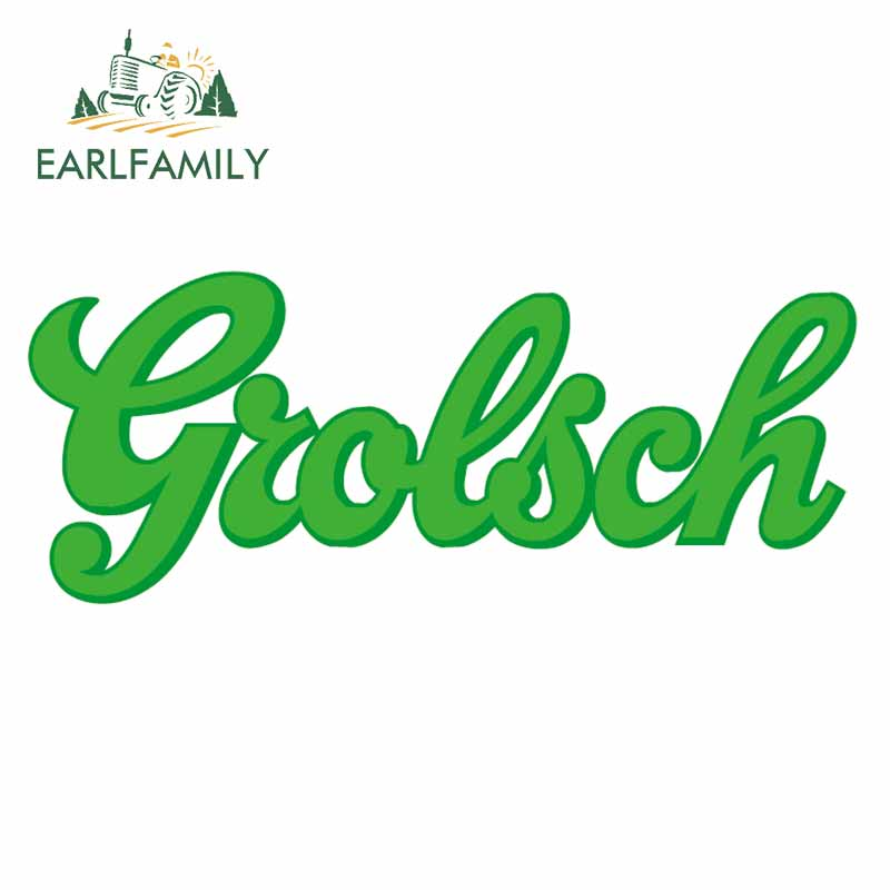 EARLFAMILY 13cm X 5.3cm For Grolsch Car Stickers Occlusion Scratch Decal Waterproof 3D Laptop For JDM ATV VAN Decoration