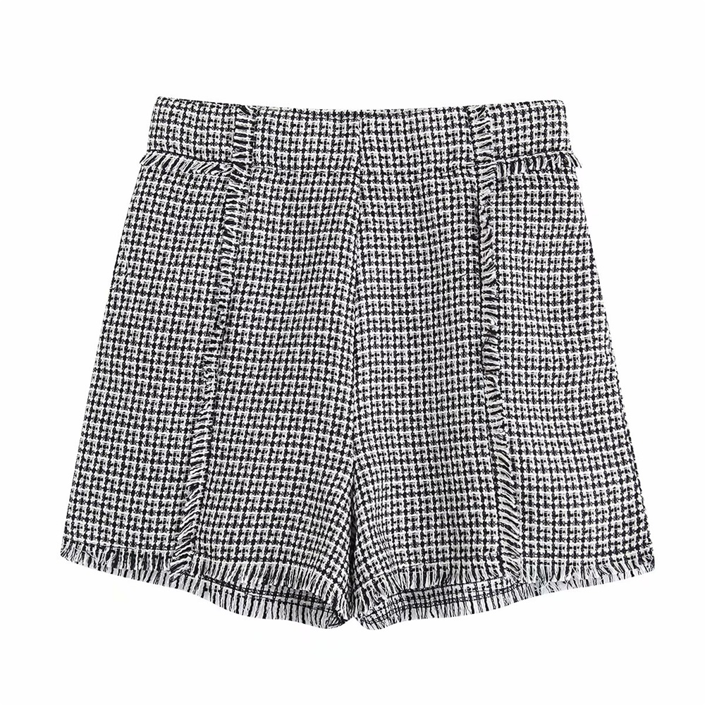Autumn 2019 Women's New High Waist Burr Trim Layer Short Twill Soft Tweed Short 06416259064
