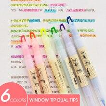 Pastel-Color Stationery Highlighter-Pen Window-Tip School-Marker Andstal 6-Colors/Set