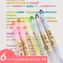 Pastel-Color Stationery Highlighter-Pen Window-Tip School-Marker Andstal 6-Colors/Set