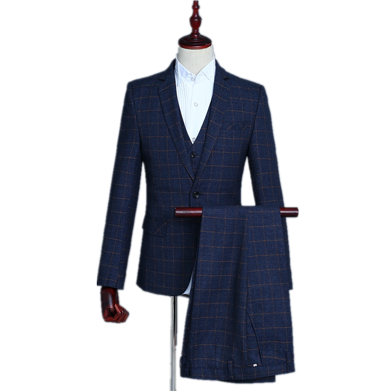 Fashion Boutique Lattice Business Men's Suit Set Men's Formal Wear Has A Gap Lapels Wedding Party Costume  (coat + Pants + Vest)