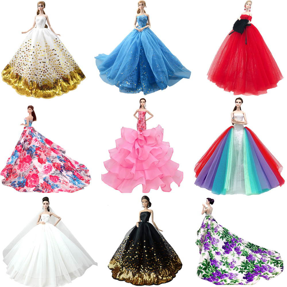 NK 2020 Princess Doll Clothes Handmake Wedding Dress Fashion Evening Party Outfit For Barbie Doll Accessories FR Doll 050A JJ