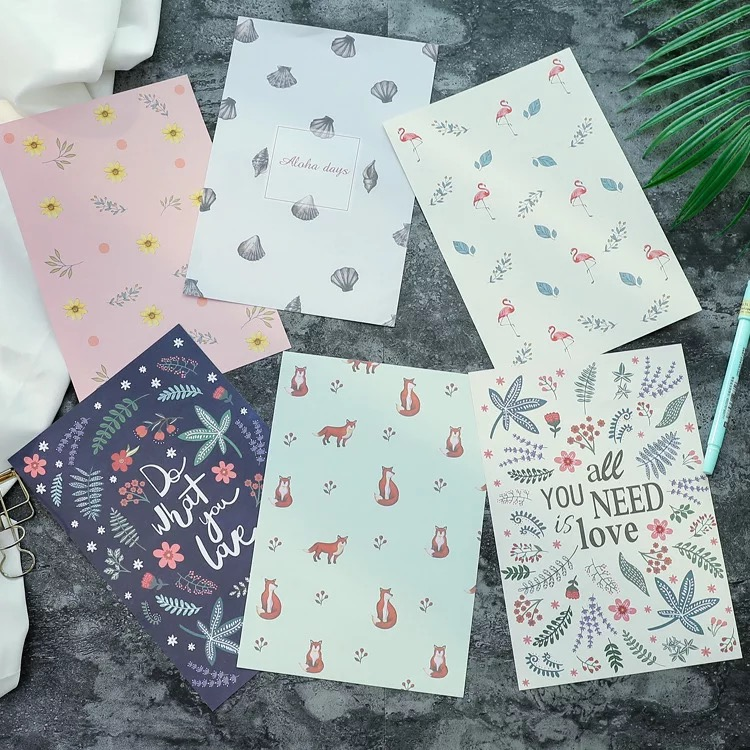 1set/6pcs Korean Creative Small Fresh Flowers Letter Paper Envelopes Lovely Romantic Colorful Letters Envelopes + Stationery