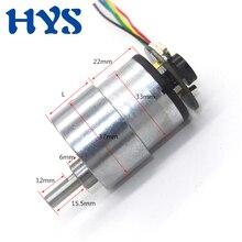 цена на HYS DC 12 Volt 6V 24V Encoder Gear Motor 7-1590rpm High Torque 35kg MIni Motors DC 12 V Micro Electric Reducer Motor Reversible