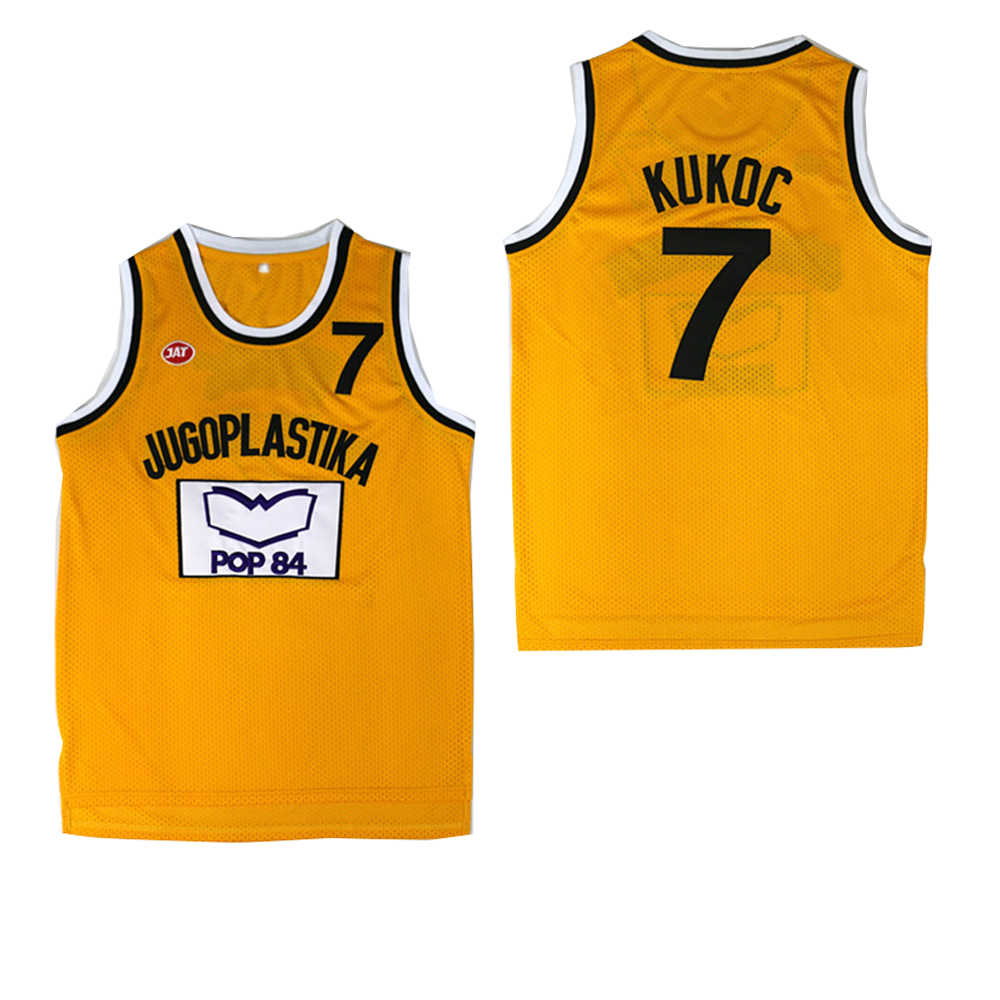 Bg Basketbal Jerseys Jugoplastika 7 Kukoc Jersey Borduursnelheid Outdoor Sportkleding Hip-Hop Cultuur Movie Pop 84 Geel 2020