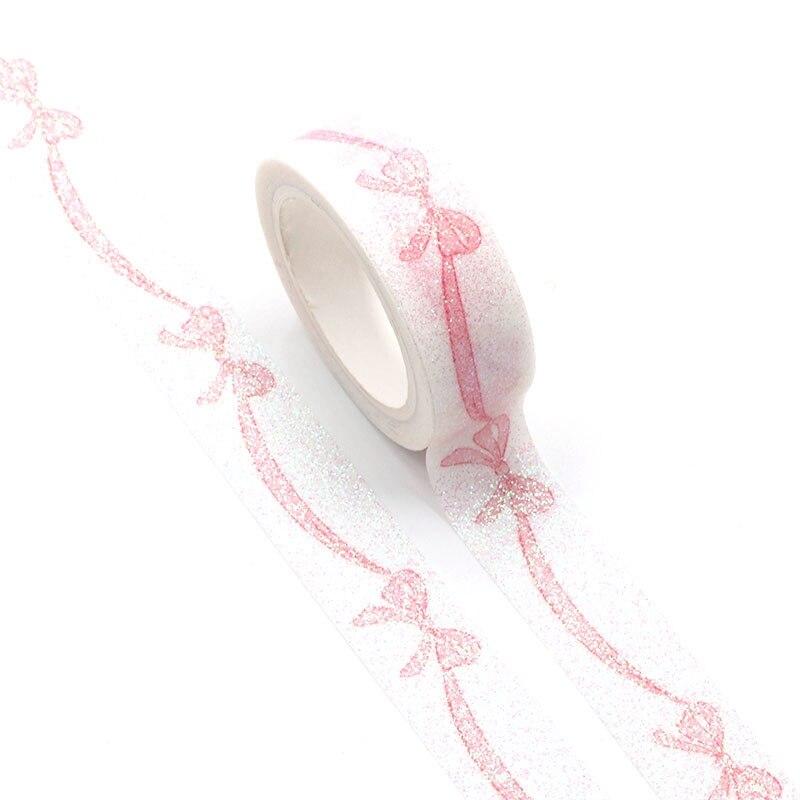 1pc Decorative Pink Bowknot Valentine Washi Tape Kawaii Scrapbooking Stickers Adhesive Masking Tape Diy Photo Album Stationery