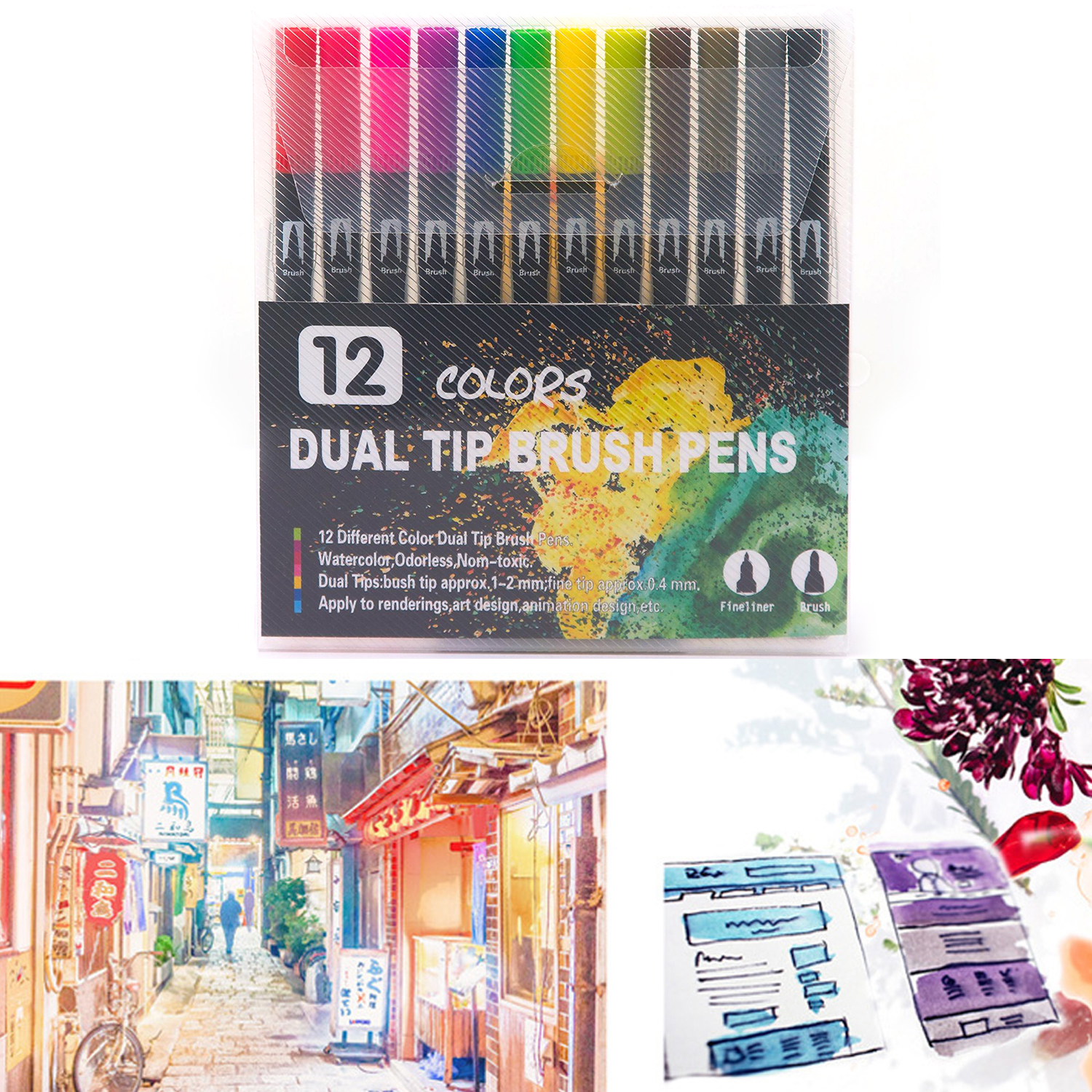 12 Colors Dual Tip Brush Pen Watercolor Drawing Painting Marker For Kids Adults Art Doodle Coloring Books Calligraphy