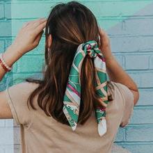 Nowy drukuj szalik do włosów kobiety liny włosów łuk elastyczne opaski do włosów dla dziewczynek kucyk opaski do włosów Scrunchie opaski akcesoria do włosów tanie tanio Sllioous SILK WOMEN Dla dorosłych Moda AD863 Free shipping 2019 Winter Summer Fall Spring Hair Ties For Girls Women s Hair Rope Rings