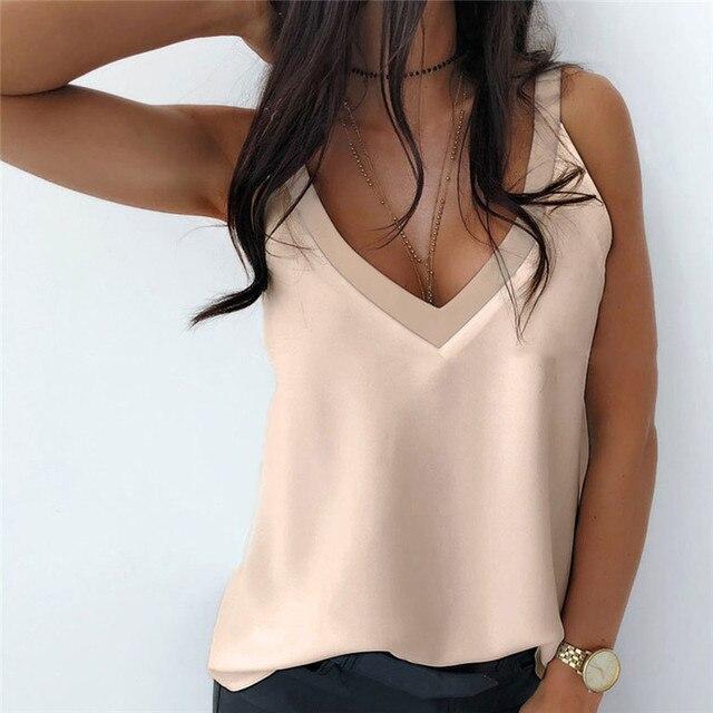 2021 verano Sexy V-cuello Blusa sin mangas de la camisa de las mujeres elegante sólido suelto hueco Tops señora nueva hombro de talla grande Blusa 6