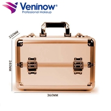 Carrying Cosmetics Box Vanity Black  Artist Aluminum makeup trolley case for travel