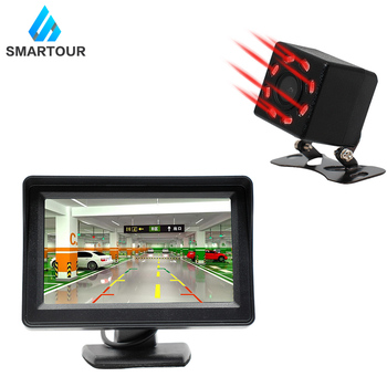 Smartour câmera de visão traseira do carro universal 8 led visão noturna backup estacionamento invertendo câmera à prova dwaterproof água hd cor imagem