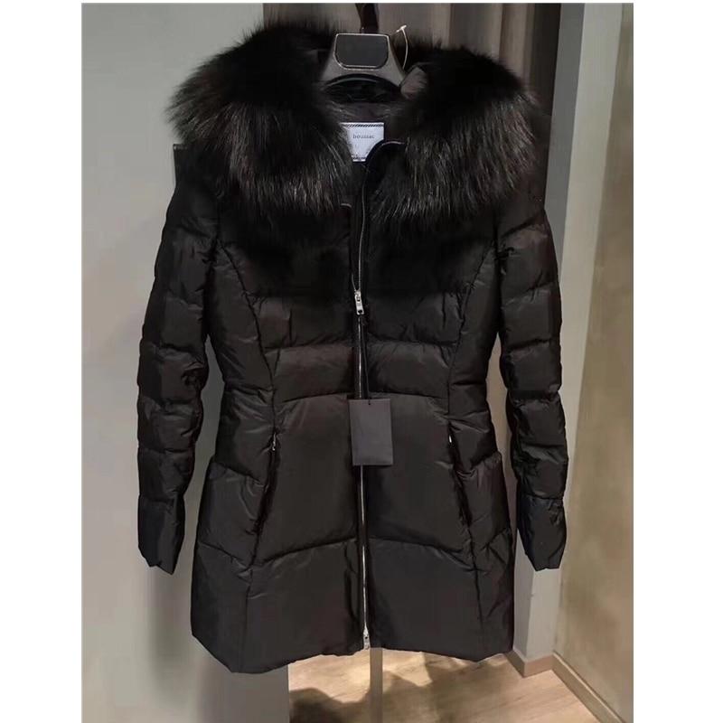 thick down winter coat woman with hood genuine soft touch fox fur women jacket new women's coat winter parkas black down coat
