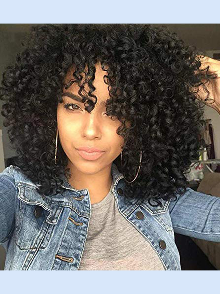 Kinky Curly Wig Synthetic-Wigs Afro I's-A-Wig-Short High-Temperature-Hair Black Natural