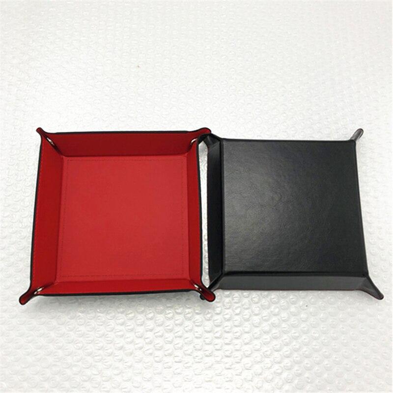 Складная коробка для хранения из искусственной кожи, квадратный поднос для настольной игры в кости, кошелек для ключей, коробка для монет, поднос, настольная коробка для хранения, лотки, Декор - Цвет: A-1