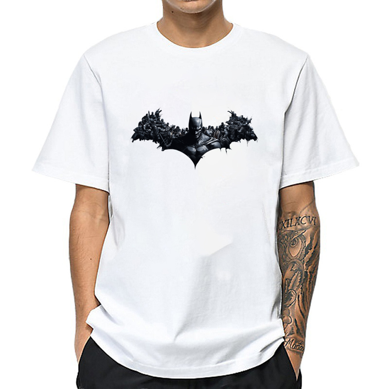 Men's White T Shirt Batman Printed Hip Hop Tshirt Loose Ulzzang Aesthetic T-shirt Men Tee Shirts Streetwear Roupas Masculina