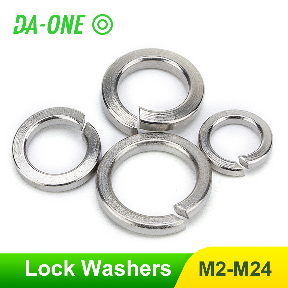 2-100pcs 304 Stainless Steel Spring Split Lock Washer Elastic Gasket M2 M2.5 M3 M4 M5 M6 M8 M10 M12 M16 M20 M24 Locking Washers