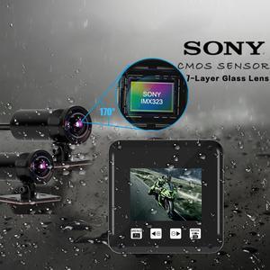 Водонепроницаемый видеорегистратор для мотоцикла, wifi, moto dash cam, 1080P, 170 °, угол обзора, двойная камера для мотоцикла, dashcam, 32 ГБ, GPS, motocam, велосипе...