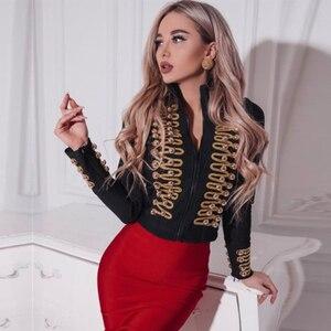 Image 1 - Adyce 2020 New Women Bandage Runway Jackets And Coats Elegant Button Black Long Sleeve Zipper Jacket Celebrity Lady Outwear Coat