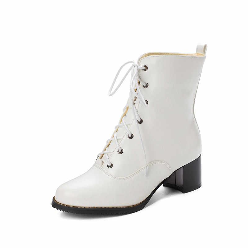 YMECHIC 2019 Plus Size Black White Lace Up Vestido Escritório Senhoras Sapatos de Salto Alto Botas de Neve de Inverno Gótico Motociclista Tornozelo botas Mulheres