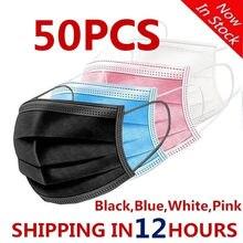 Máscara protetora descartável de 50 pces não tecida máscara de boca de 3 camadas filtro preto anti poeira gripe respirável earloops máscara em estoque!