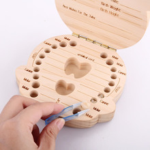 Baby Deciduous box Wooden baby Tooth Box organizer Spanish English teeth store boy girl umbilical cord preservation souvenir(China)