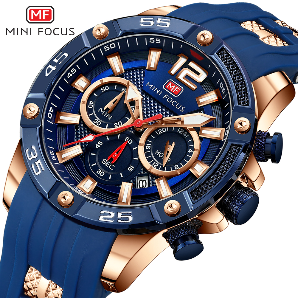 MINI FOCUS Chronograph Men's Watches Luxury Top Brand Quartz Watch Blue Silicone Military Sports Wristwatch Relogios Clock 0349