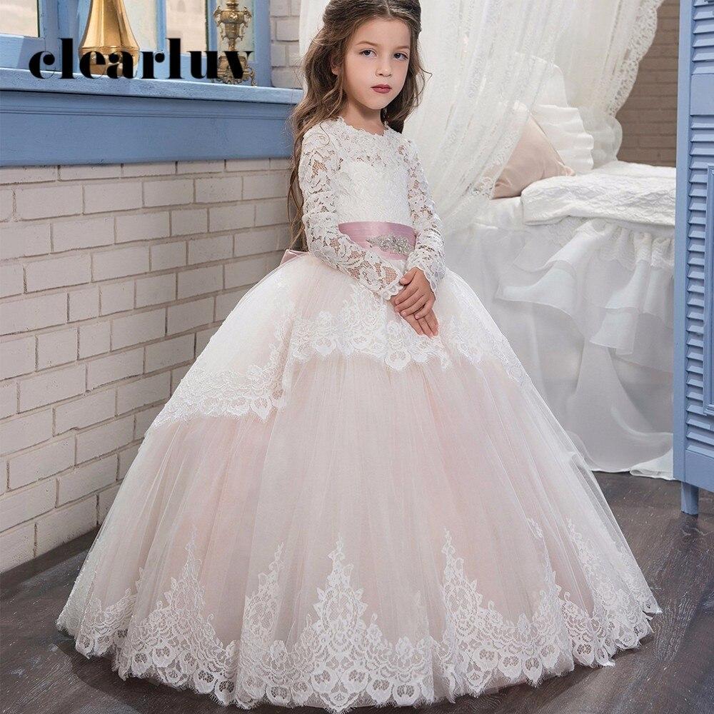 Wedding Dress For Girl Kids B050 Lace Appliques Floor Length Kids Evening Dress Pink Long Sleeves Flower Girl Dresses For Party