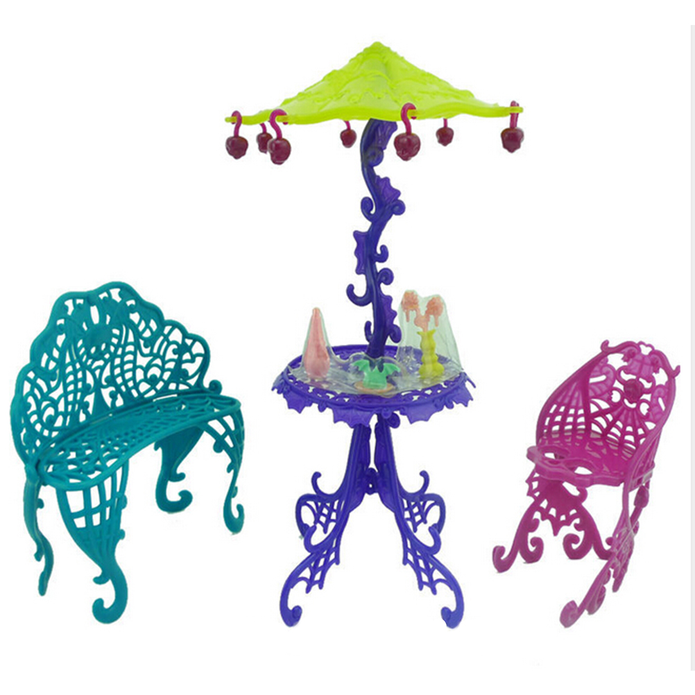 1Set Sun Umbrella Kid Toy Doll House Furniture For  Doll Accessories Amusement Bar Couch Chair Table Dessert