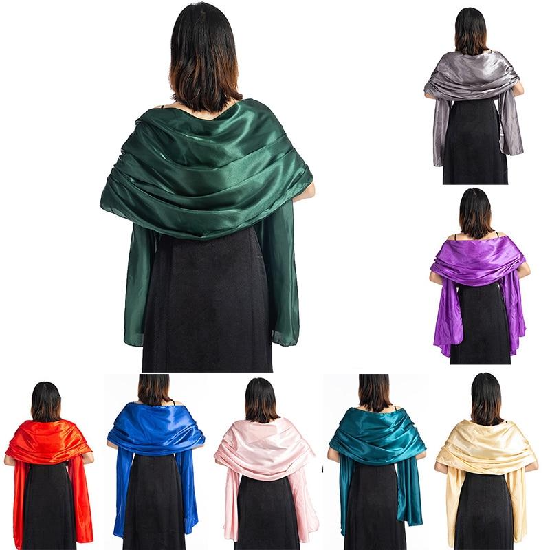 16 Colors Satin Wedding Wraps And Shawls 240*70cm Bridal Bolero Shrug Long Scarf Women Bolero Cape For Evening Party Dress