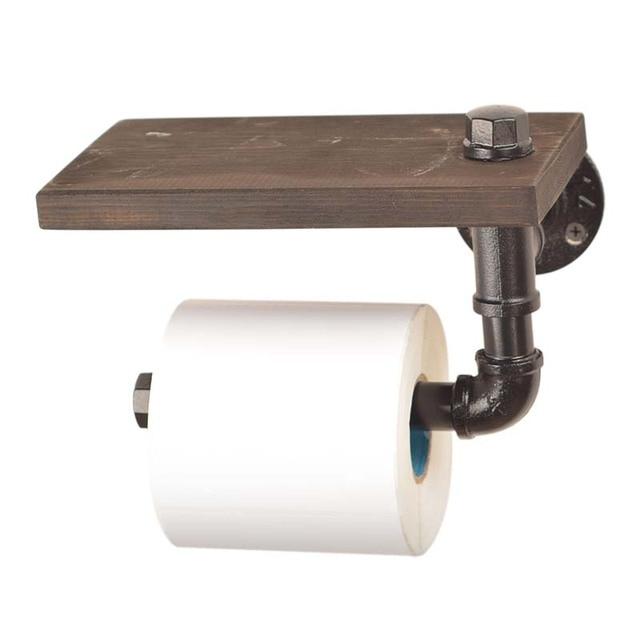 Industrial Silver Urban Rustic Iron Pipe Toilet Paper Roller Holder Bathroom Wood Shelf Storage Tissue Hanging Rack Wooden Shelf