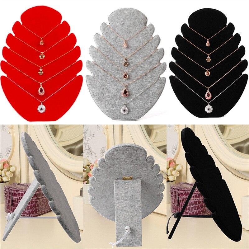 Quente 1pc jóias pingente colar de corrente display titular suporte de veludo cavalete organizador rack de jóias feminino multi-funcional armazenamento