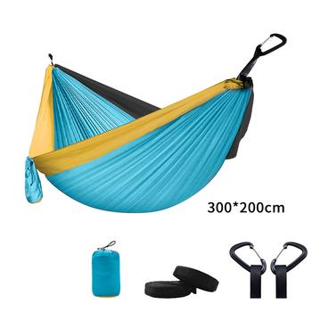Przenośny hamak z wytrzymałej tkaniny spadochronowej dla 1-2 osób huśtawka z moskitierą wiszące łóżko biwak polowanie tanie i dobre opinie isfriday CN (pochodzenie) meble zewnętrzne Jednoosobowe dla dorosłych 210T Nylon 300*200cm 300KG Outdoor recreation camping barbecue picnic indoor recreation etc
