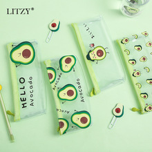 Cute Avocado Gift Estuche School Pencil Case for Girl Transparent Bag Kawaii Box Supplies Office Stationery