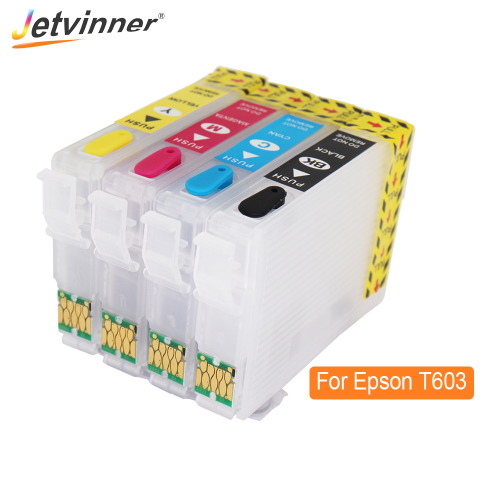 T603 603XL Refillable Ink Cartridge For <font><b>Epson</b></font> <font><b>XP</b></font>-<font><b>2100</b></font> <font><b>XP</b></font>-2105 <font><b>XP</b></font>-3100 <font><b>XP</b></font>-3105 <font><b>XP</b></font>-4100 <font><b>XP</b></font>-4105 WF-2810 WF-2830 For Europe Printer image