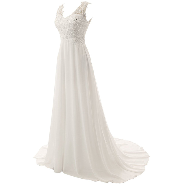 New Romantic Summer Bridal Dress Fluid feel Chiffon Sleeveless Lace Deep V-Neck Adjustable Plus Size Wedding Dress 4